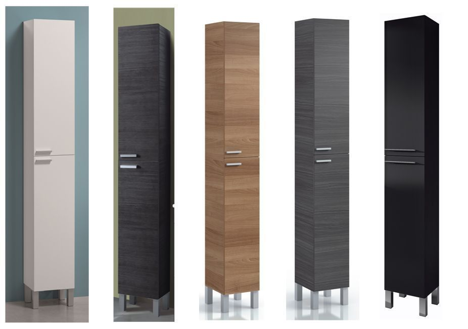 koncept tall narrow bathroom cupboard storage cabinet soft gloss white ash grey - Bathroom Cabinets Black Gloss