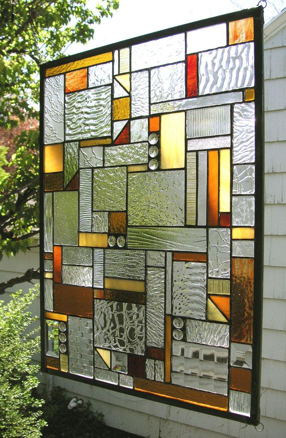 Stained Glass Window Panelmission Style Geo Warm Tones Etsy Stained Glass Art Faux Stained Glass Modern Stained Glass