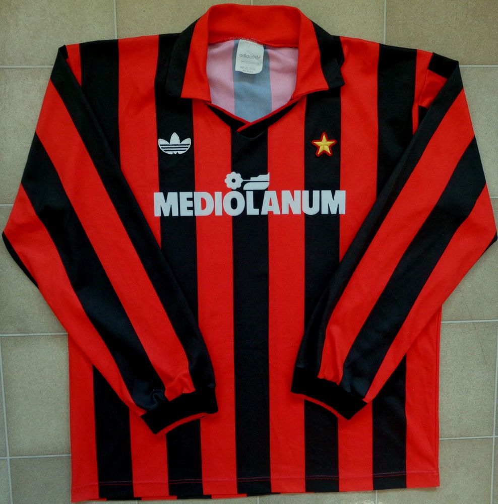 7f717871a Details about Authentic Adidas AC Milan 90 91 L S Home Jersey