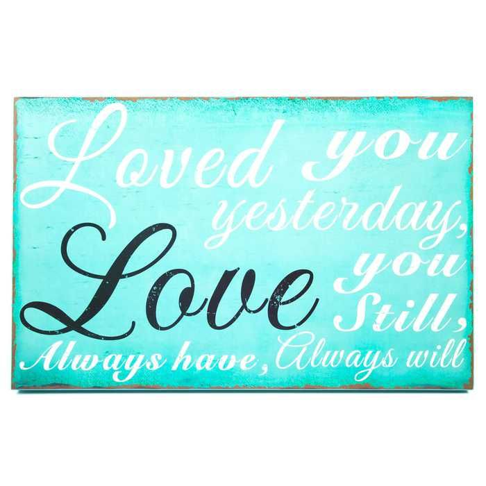 Turquoise Love You Always Wall Plaque