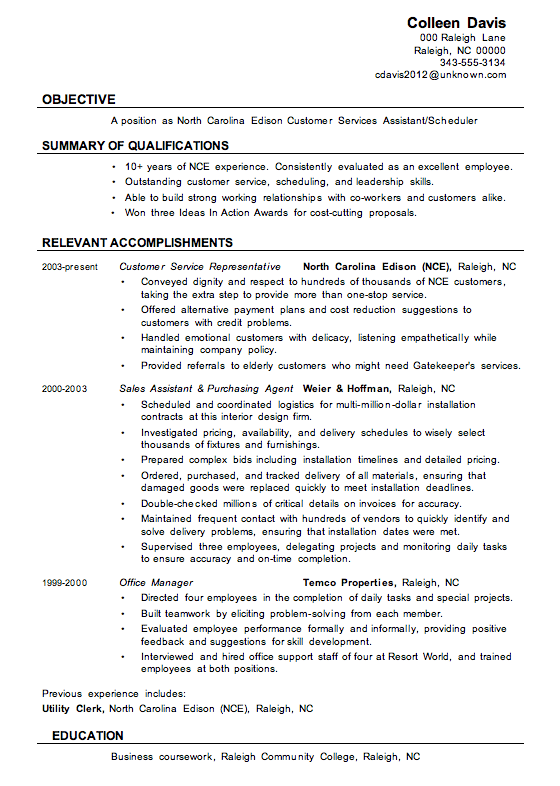 resume sample customer services assistant - Narrative Resume Sample