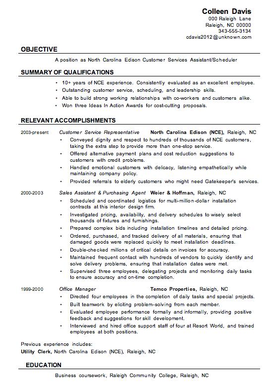 resume ideas for call center