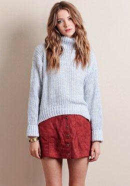Bundle Up Turtleneck Sweater In Gray
