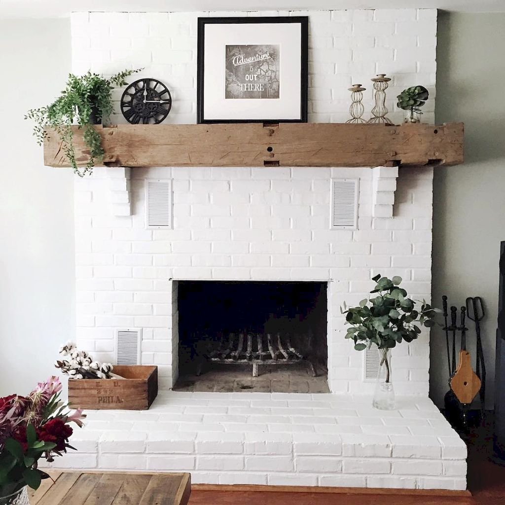 80 incridible rustic farmhouse fireplace ideas makeover 30