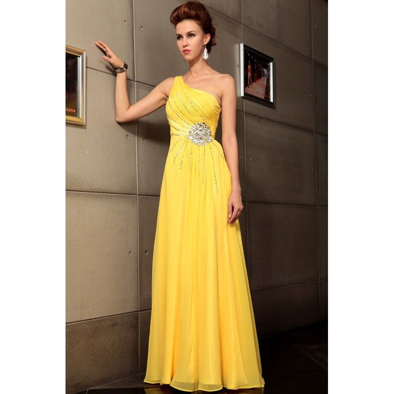 Simple Evening Gowns | One Shoulder Casual Simple Yellow Evening ...