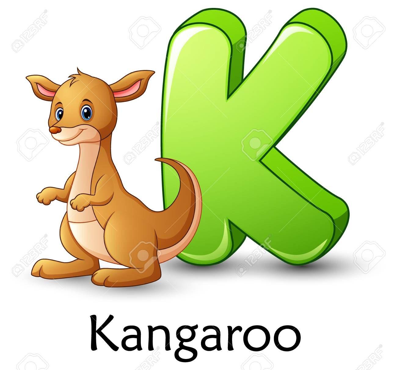 La Letra K Es Para El Alfabeto De Dibujos Animados De Canguro Alfabeto Con Imagenes Alfabeto Animal Dibujos Animados