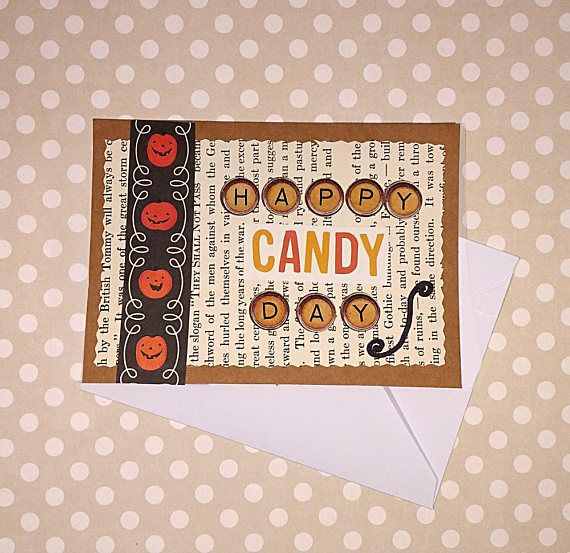 Happy candy day halloween card cute halloween card trick or happy candy day halloween card cute halloween card trick or treat happy halloween blank greeting card handmade card with envelope m4hsunfo Choice Image