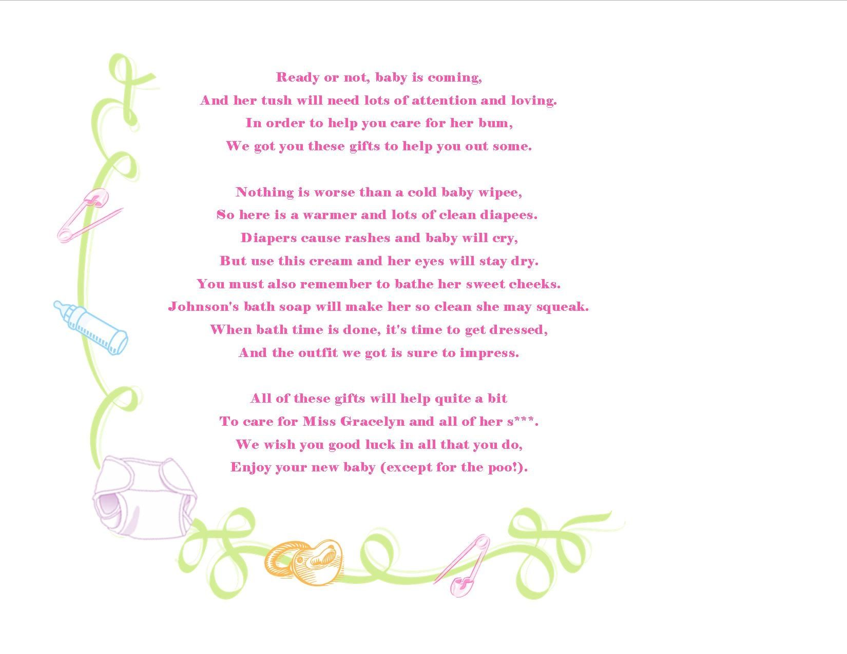 Baby Shower Gift Basket Poem Attach this cute poem to a baby
