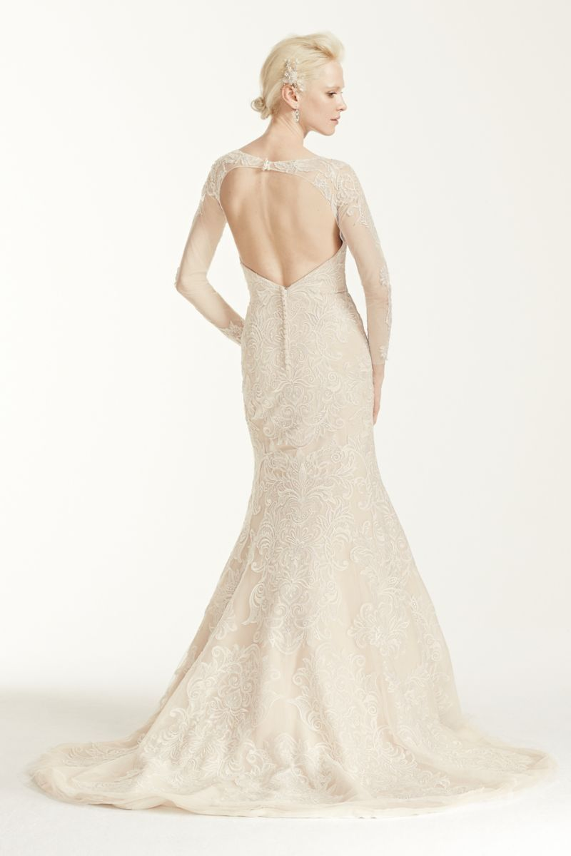 Oleg cassini open back long sleeved wedding dress style cwg