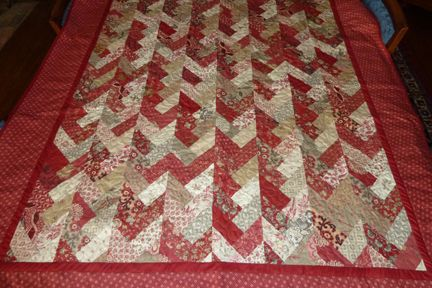 My quilt made from a Moda jelly roll, French General fabrics, in the