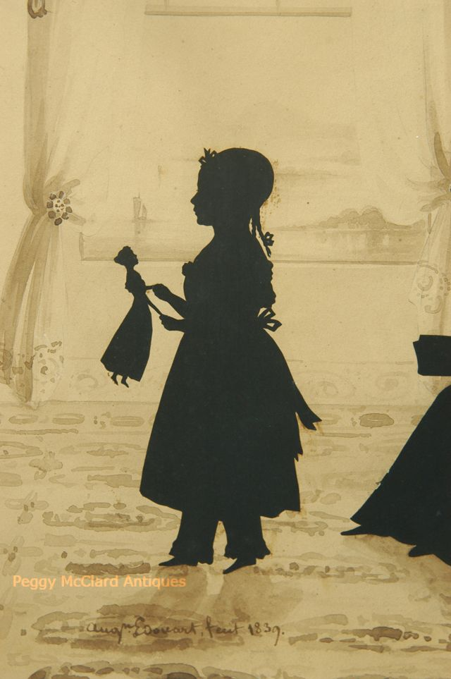 Antique American Conversation Silhouette Of Family By