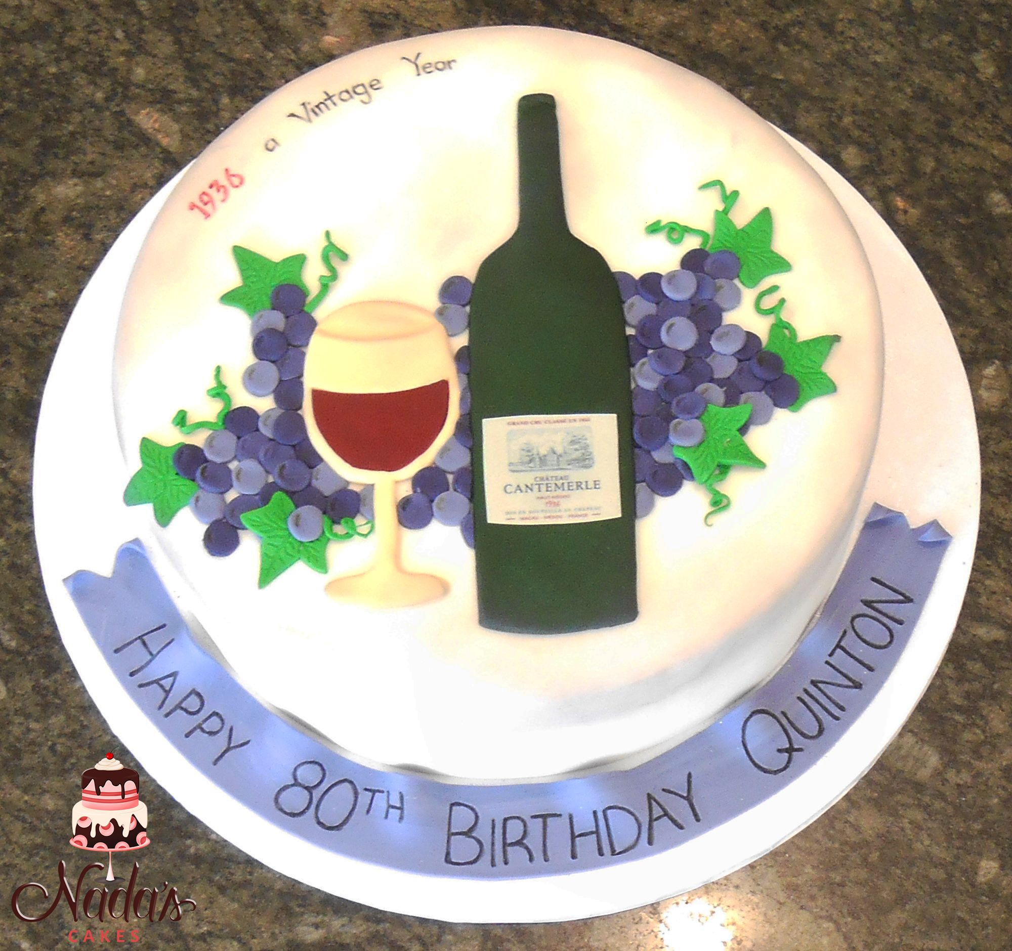 Wine Themed Birthday Cake - By Nada's Cakes Canberra …