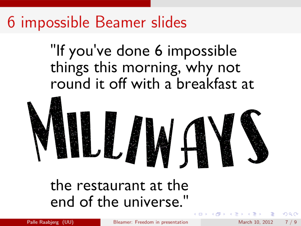 Quote from The Hitchhiker's Guide to the Galaxy. I hope they serve good food.
