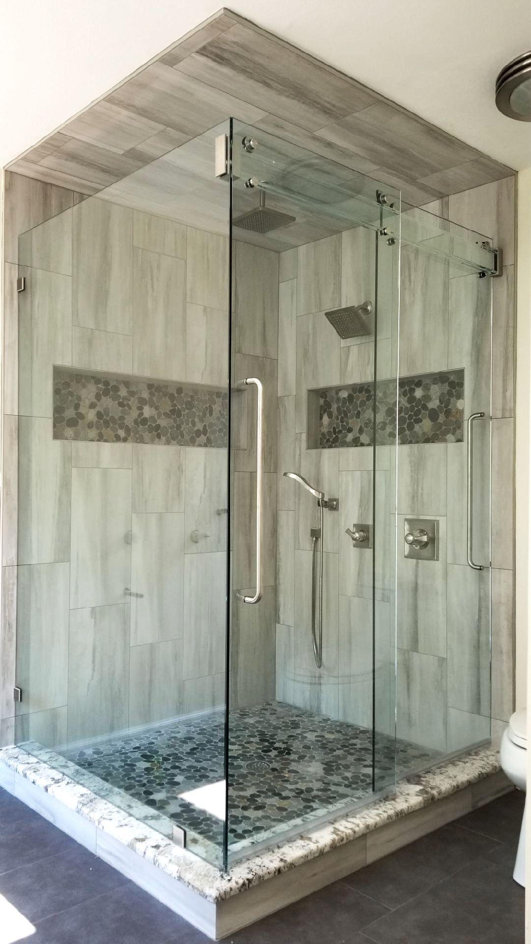 Barn Door Style Shower Enclosure All Glass Header Design
