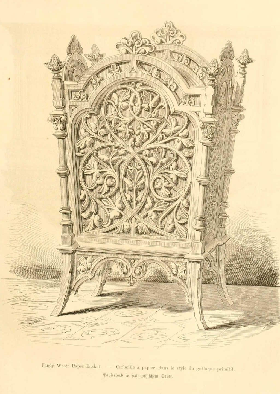 img/dessins meubles mobilier/corbeille a papier style gothique ...