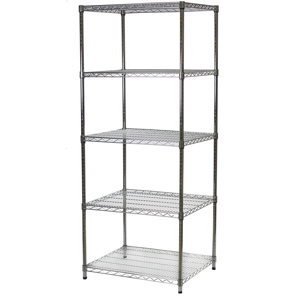Industrial Wire Shelving Unit with 5 Shelves - 24\