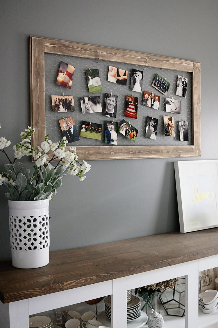 Chicken Wire Photo Frame Diy home decor projects, Wooden diy