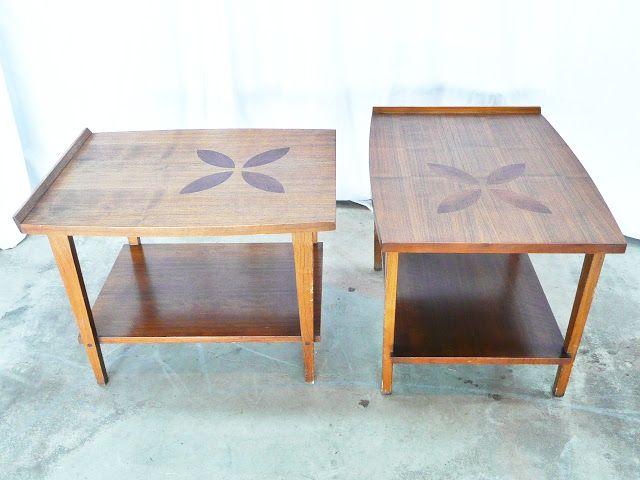 lane danish modern flower leaf petal inlay vintage mid century tables furniture vintage. Black Bedroom Furniture Sets. Home Design Ideas