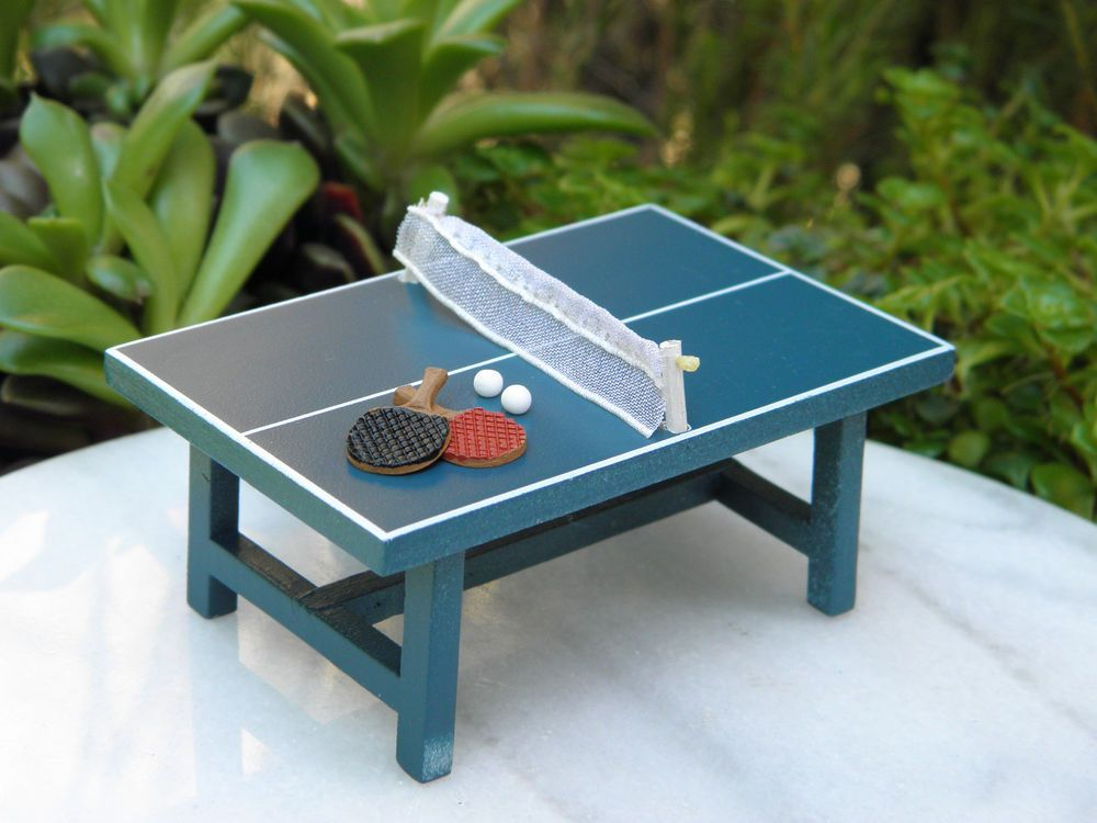 Miniature Dollhouse Fairy Garden Furniture Small Ping Pong Table