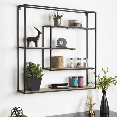Daxton Large Decorative Floating Wall Shelf Finish Black Brown In 2020 Rustic Wall Shelves Floating Wall Shelves Modern Wall Shelf