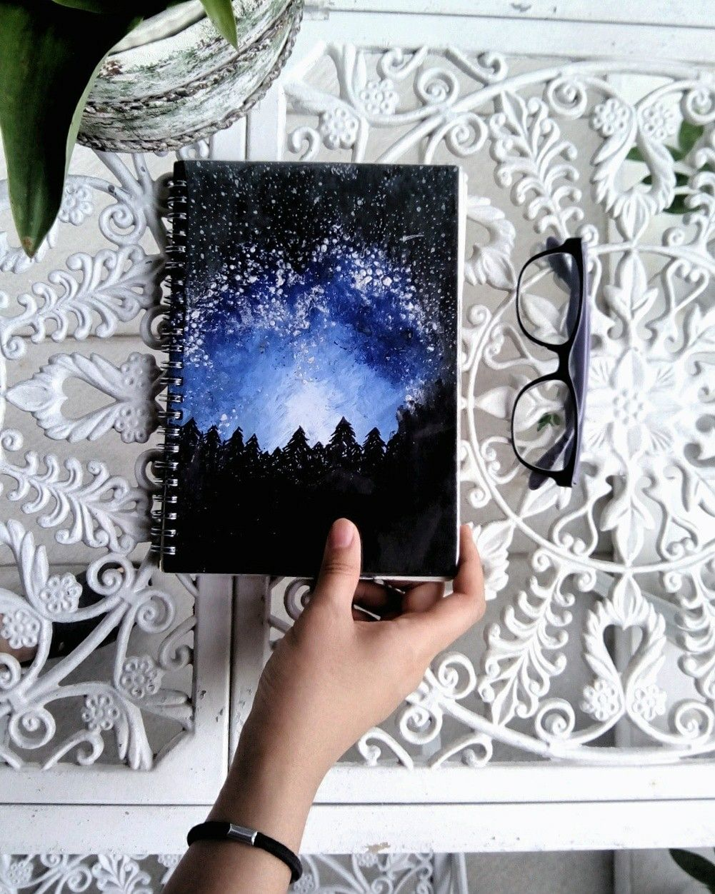 Diy Notebook Cover Of A Starry Blue Night Sky Over The Dark Woods Painted Using Acrylic Paint Diyno Diy Notebook Cover Diy Notebook Custom Notebook Covers