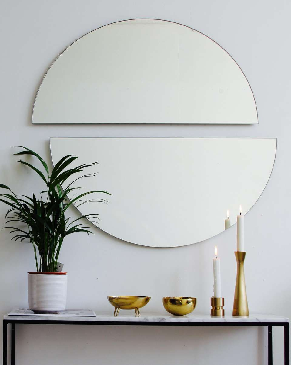 Silver Tinted Luna Orbis Round Mirror 2 Half Moon Pieces Frameless Medium Round Mirrors Mirror Tinted Mirror