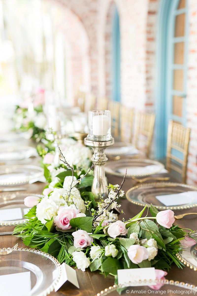 The Wedding Party S Farm Table With A Lush Greenery