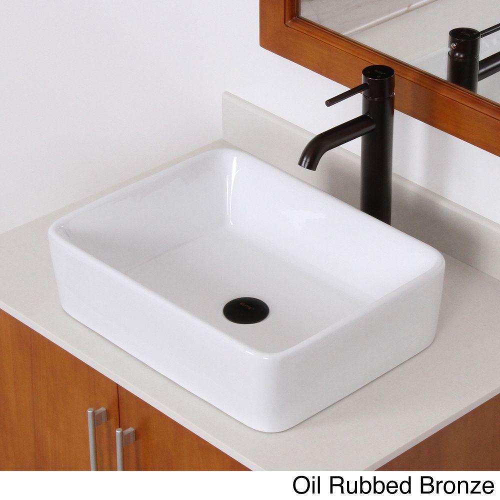 Elite bathroom sinks - Elite High Temperature Rectangular Ceramic Bathroom Sink And Faucet Combo Overstock Shopping Great Deals On Elite Bathroom Sinks