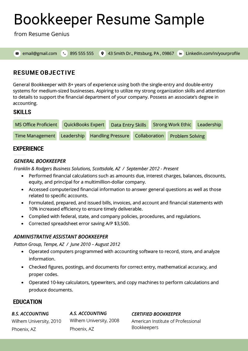 Bookkeeper Resume Sample & Guide Resume examples, Job