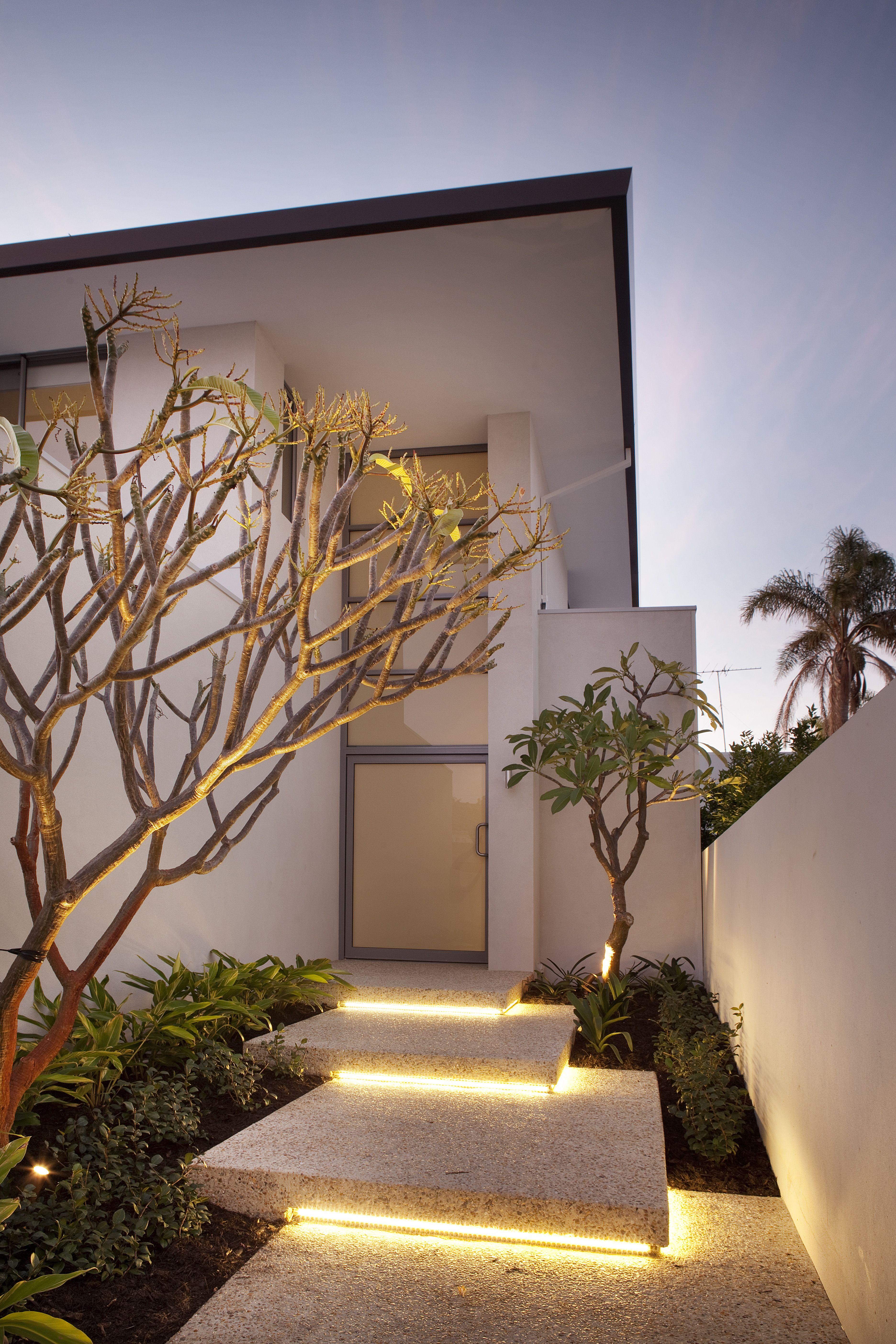 Floating steps, garden lighting, front entrance Outdoor
