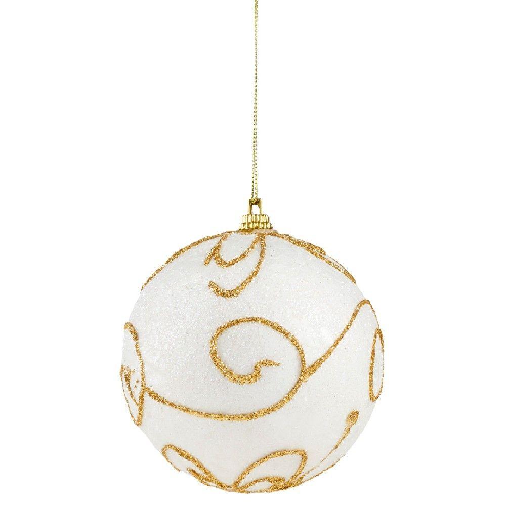Boule De Noel A Suspendre Blanche Et Doree Deco Noel Sapin Decoration Noel Et Sapin Noel Artificiel