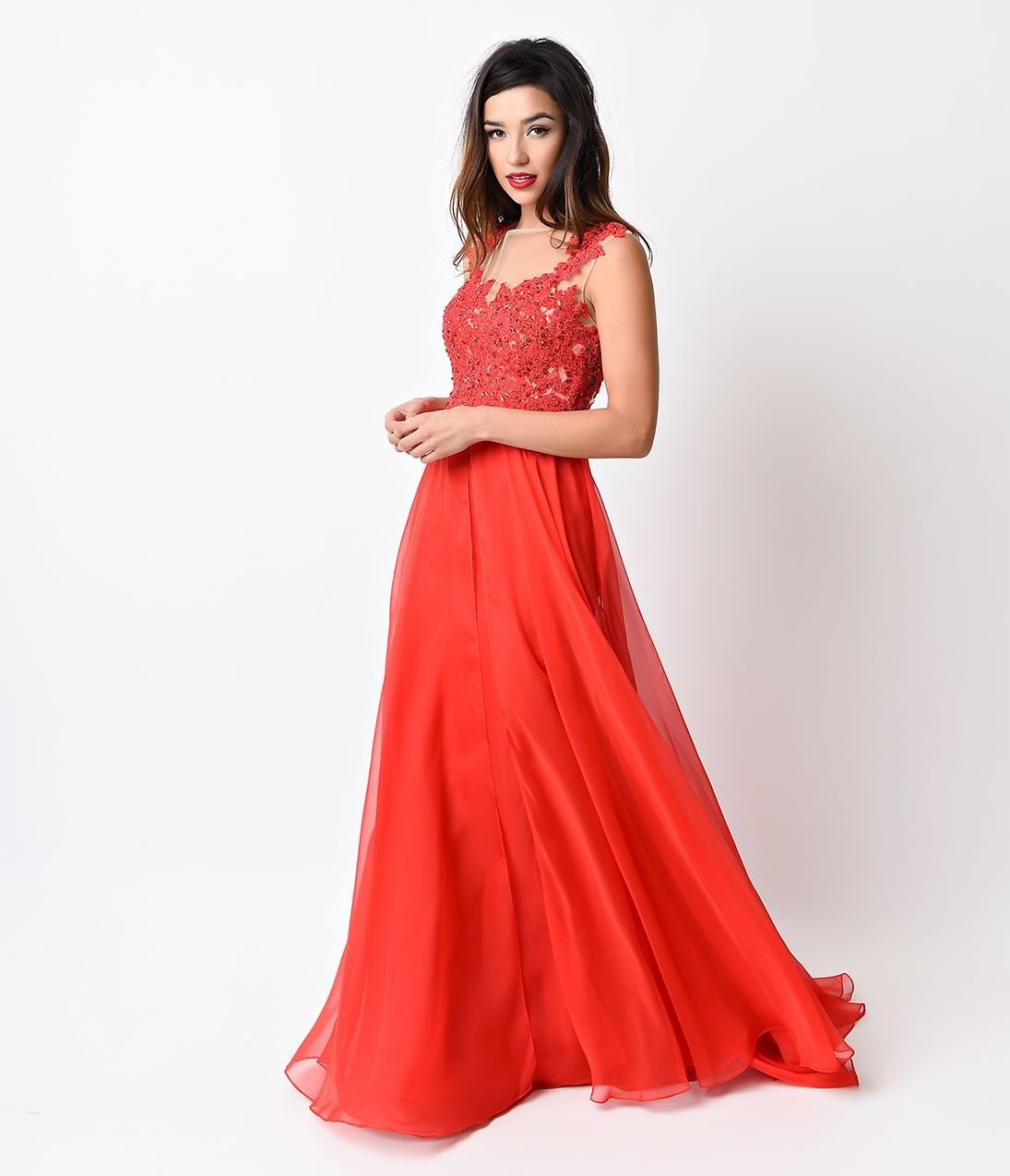 Red Beaded Lace Mesh Cap Sleeve Long Dress for Prom 2017 | Prom ...