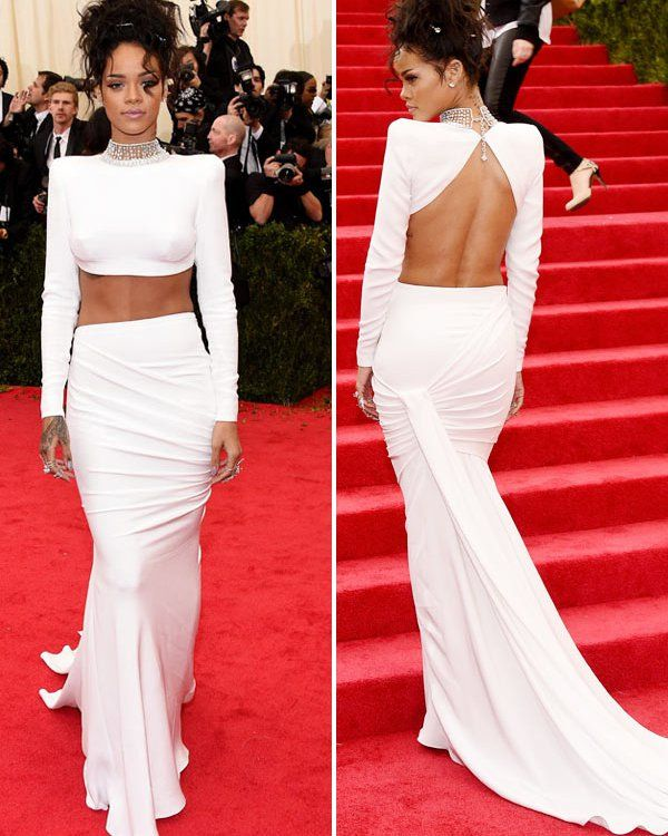 012d9aa8a89 Rihanna Goes Braless In Tight White Crop Top & Skirt At Met Ball ...