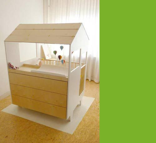 This is one sweet crib-changing table + drawers + crib = 1 Little Cute Modern House!  www.auntbucky.com