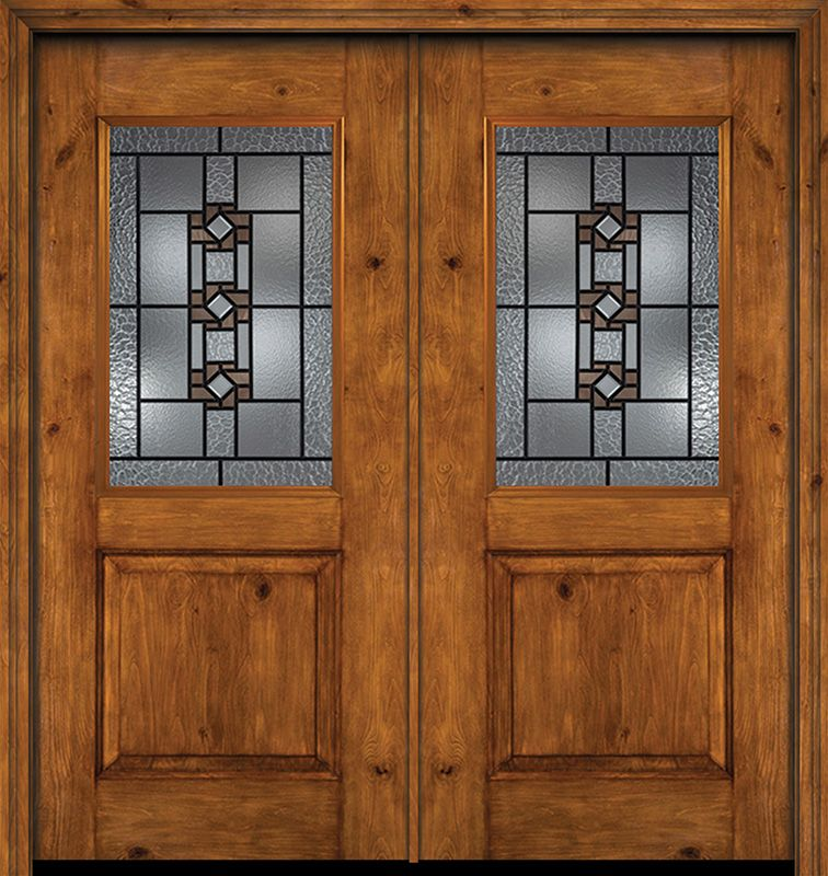 Alder Rustic Plain Panel 1 2 Lite Double Entry Door Mission Ridge Glass Entry Doors Double Entry Doors Exterior Doors
