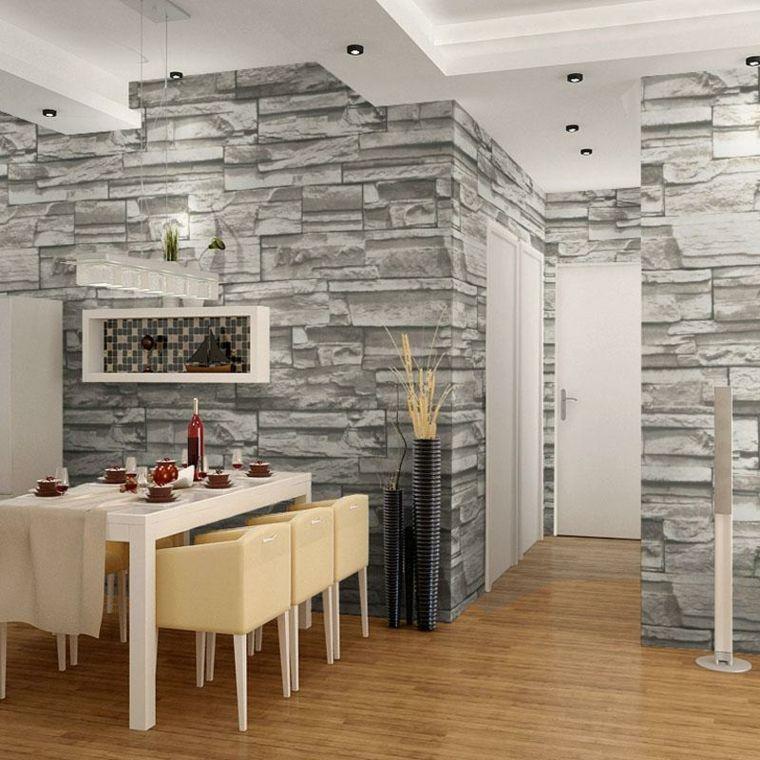 Papier peint imitation pierre d coration murale for Modele deco papier peint salle a manger