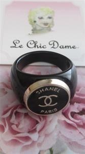 RARE Black Coco Chanel CC Paris France ring jewelry summer haute couture preppy style fashionista #Chanel