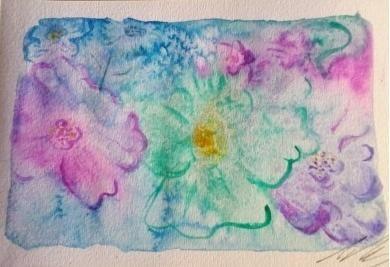Flores Al Agua.  Acuarela