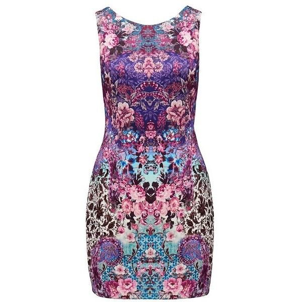Forever New Mia mirror printed scuba dress ($38) ❤ liked on Polyvore featuring dresses, vestidos, short dresses, floral mirror print, short floral dresses, flower print dress, floral shift dress and high neck dress