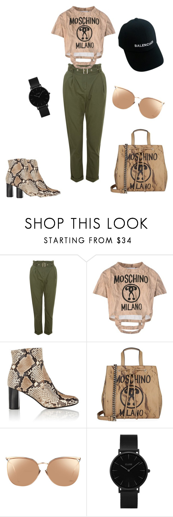 """Untitled #26"" by jaycavalli ❤ liked on Polyvore featuring Moschino, Barneys New York, Linda Farrow, CLUSE and Balenciaga"