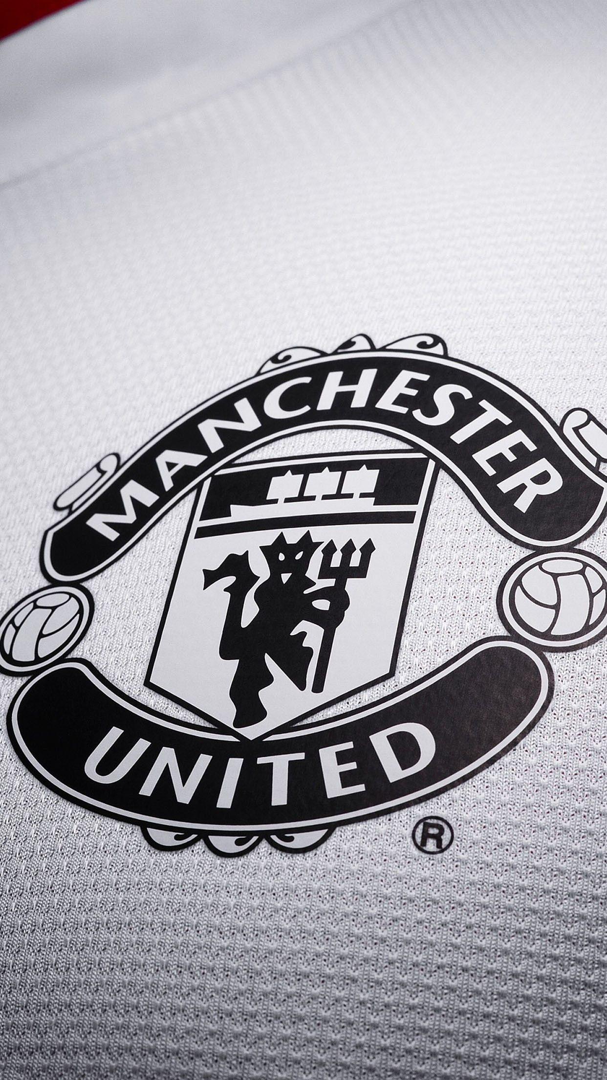 Manchester United Uniform Logo Black White Smartphone Wallpaper And Lockscreen Hd Manchester United Wallpaper Manchester United Logo Manchester United