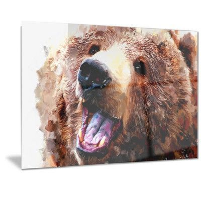 "DesignArt Metal 'Happy Brown Bear' Painting Print Size: 12"" H x 28"" W"