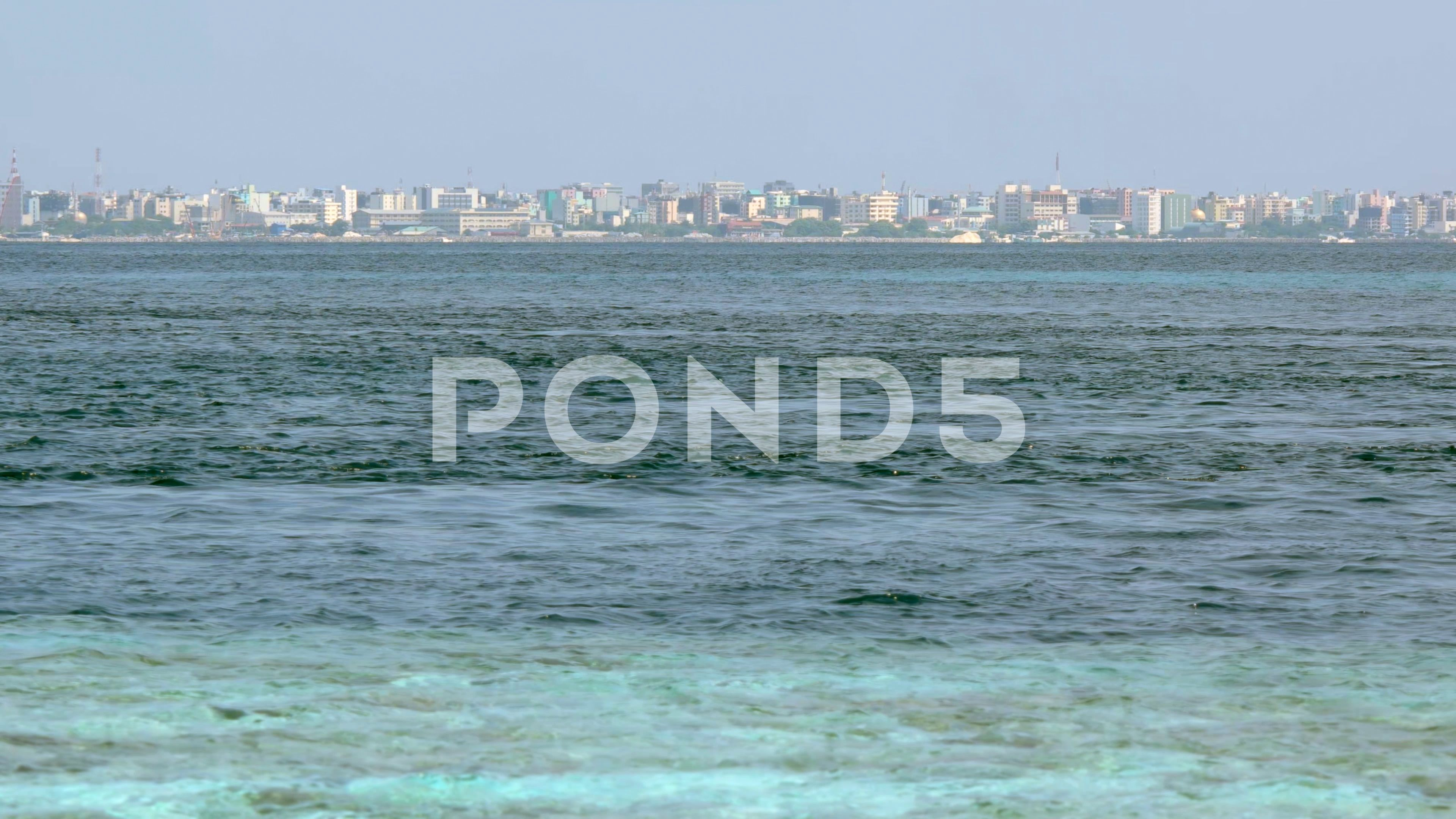 View Of Male City From Vadhoo Island Maldives Stock Footage