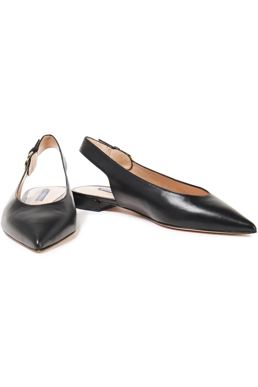 Black Leather slingback point-toe flats