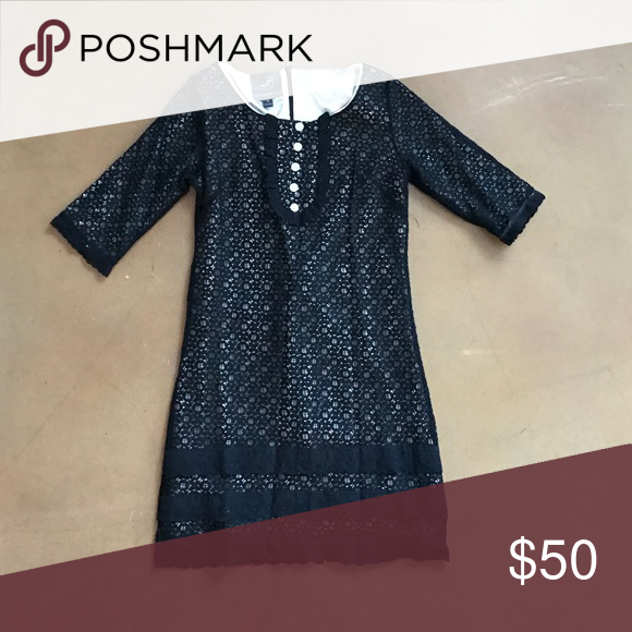 Don't wear it Three-quarter length sleeve, black lace dress. knitted dove Dresses
