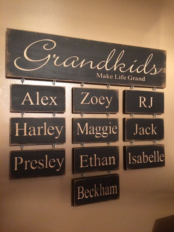 Grandkids Make Life Grand Personalized Carved Wooden Sign Garden