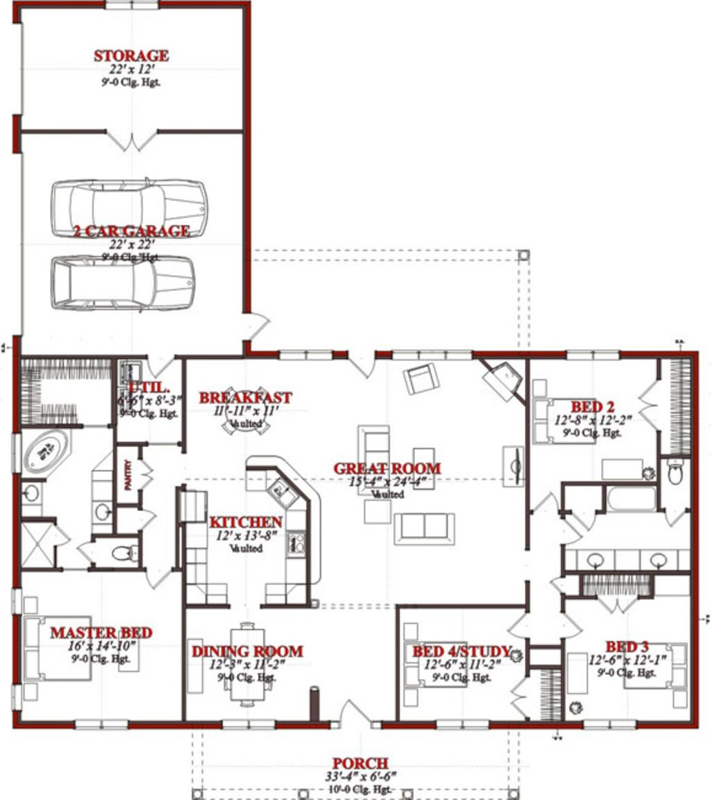 Traditional Style House Plan 4 Beds 2 Baths 2523 Sq Ft Plan 63 227 Pole Barn House Plans Barn House Plans House Floor Plans