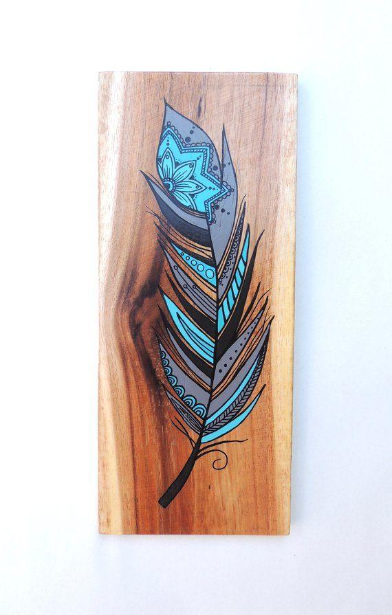 Feather Wood Wall Art – Feathers, Feather Art, Wall Art, Feather Picture, Feather Painting, Wood Art, Reclaimed Wood, Original Art
