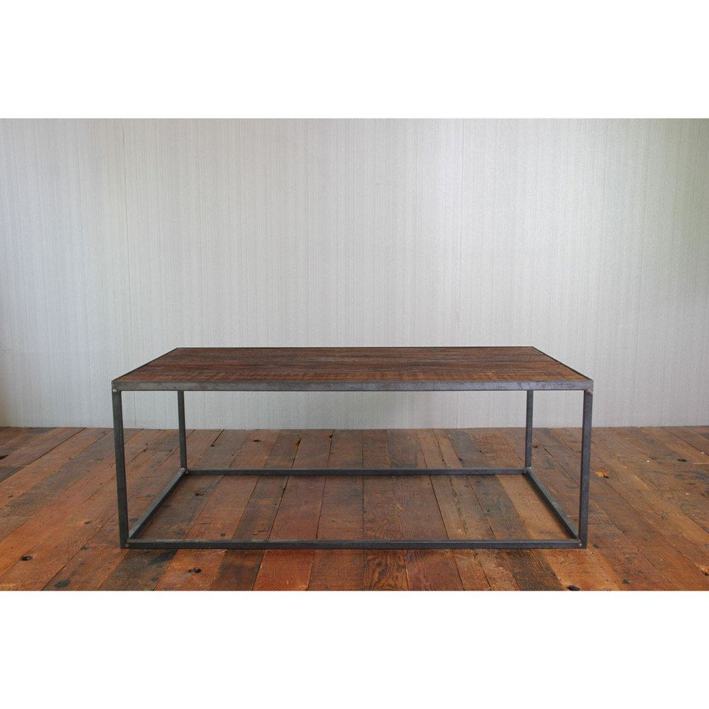 Reclaimed Wood And Steel Coffee Table Salvage Fir And Iron Coffee Table Modern Wood Furniture Steel Coffee Table