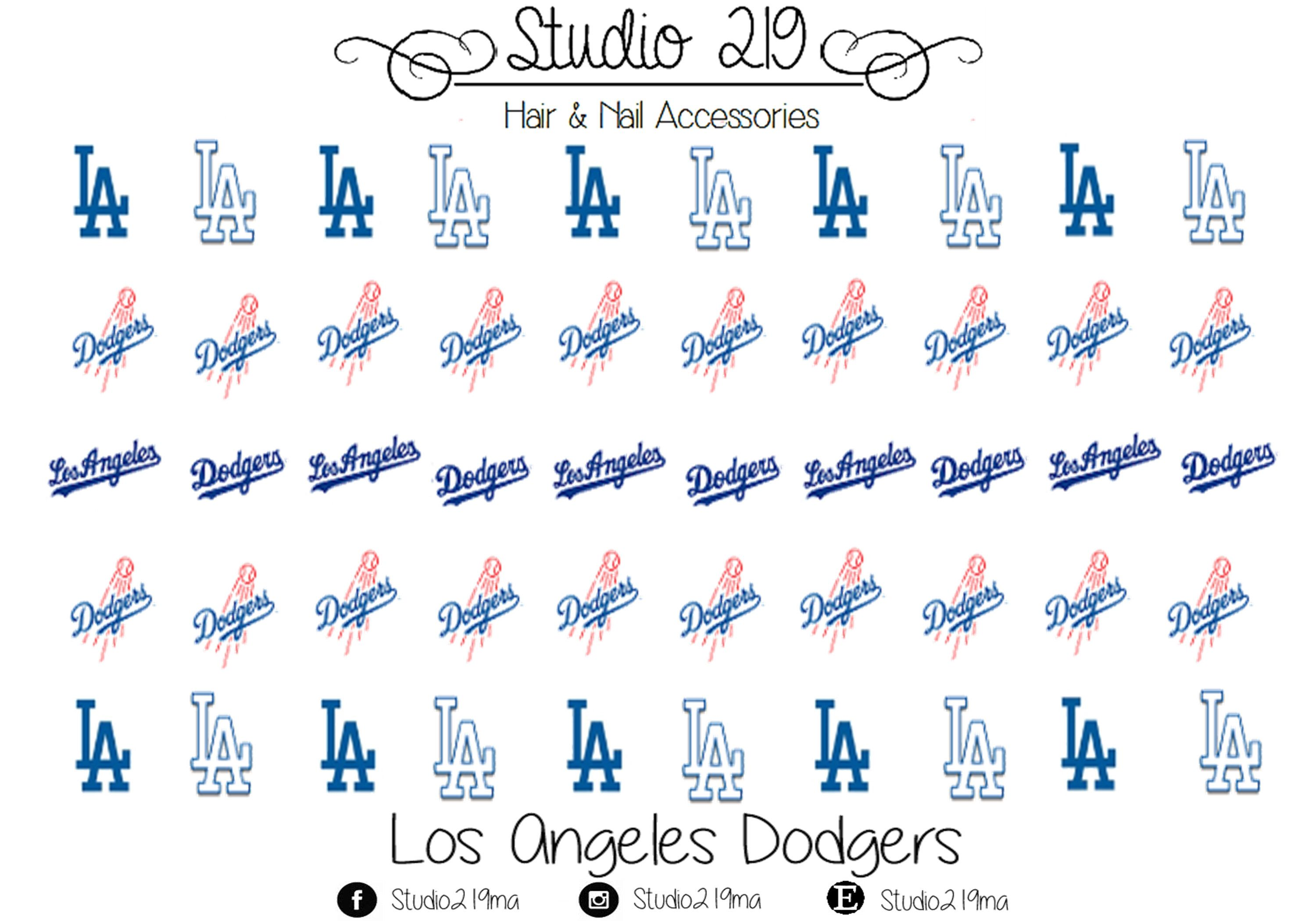 Los Angeles Dodgers Waterslide Nail Decals by Studio219MA